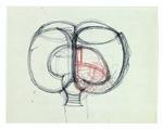 Floor plan sketch; colored pencil on paper