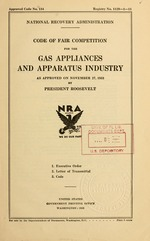 Code of fair competition for the gas appliances and apparatus industry