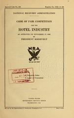 Code of fair competition for the hotel industry