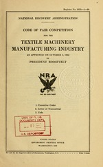 Code of fair competition for the textile machinery manufacturing industry