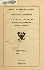 Code of fair competition for the throwing industry