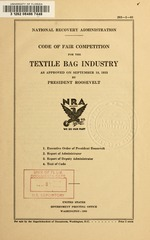 Code of fair competition for the textile bag industry