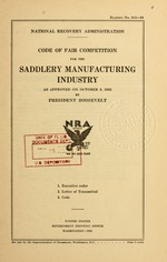 Code of fair competition for the saddlery manufacturing industry