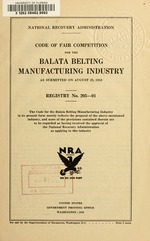 Code of fair competition for the balata belting manufacturing industry