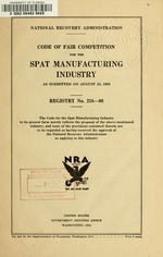 Code of fair competition for the spat manufacturing industry
