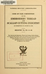 Code of fair competition for the embroidery thread and scallop cutting industry