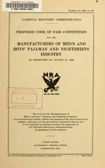 Proposed code of fair competition for the manufacturers of men's and boy's pajamas and nightshirts industry