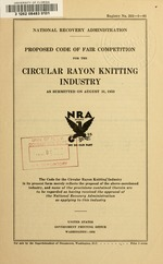 Proposed code of fair competition for the circular rayon knitting industry