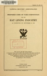 Proposed code of fair competition for the hat lining industry