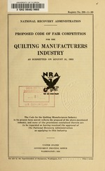 Proposed code of fair competition for the quilting manufacturers industry