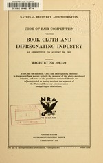 Code of fair competition for the book cloth and impregnating industry