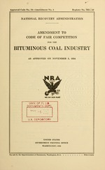 Amendment to code of fair competition for the bituminous coal industry as approved on November 5, 1934