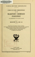 Code of fair competition for the masonry chimney industry