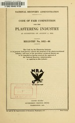 Code of fair competition for the plastering industry