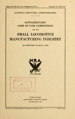 Supplementary code of fair competition for the small locomotive industry