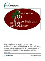 Brief psychosocial education, not core stabilization, reduced incidence of low back pain : results from the Prevention of Low Back Pain in the Military (POLM) cluster randomized trial