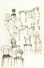 Sketches of chairs designed by Alain Huin (76 items)