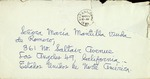 Letter to Maria Mantilla de Romero from Emilio Alfonso de la Torre, May 20, 1960, handwritten letter, admiration, and commemoration on May 19 mentioned.