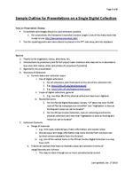 Sample Outline for Presentations on a Single Digital Collection ( 2013 version )