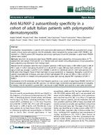 Anti-MJ/NXP-2 autoantibody specificity in a cohort of adult Italian patients with polymyositis/ dermatomyositis