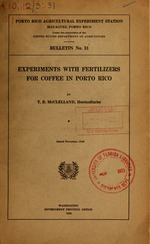 Experiments with fertilizers for coffee in Porto Rico