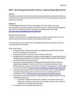 Data Management / Curation Task Force, Quarterly Report (March 2013)