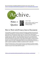 How to Work with Primary Source Documents