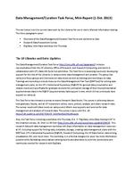 Data Management/Curation Task Force, Mini-Report (1 Oct. 2013)