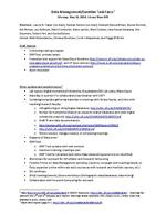 Data Management / Curation Task Force, Meeting Agenda, May 12, 2014
