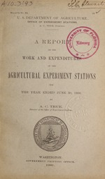 A Report on the work and expenditures of the agricultural experiment stations for the year ended ...