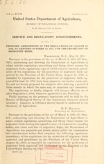 Proposed amendments of the regulations of August 21, 1916, as amended October 10, 1917, for the protection of migratory birds