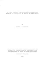 The fiscal paradox of the Individuals with Disabilities Education Act (PL 101-476)