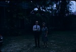 Eleanor Friend Sleight and man standing beside the Barbados Museum