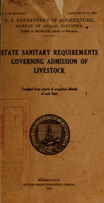 State sanitary requirements governing admission of livestock