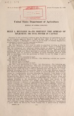 Rule 1, revision 39--To prevent the spread of splenetic or tick fever in cattle