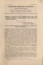 Order to prevent the introduction into the United States of rinderpest and foot-and-mouth disease