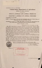 Regulations to prevent the introduction into the United States of rinderpest and foot-and-mouth disease; Amendment 3 to order 366--Order to prevent the introduction into the United States of rinderpest and foot-and-mouth disease