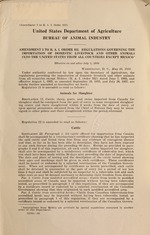 Amendment 3 to B.A.I. order 352. Regulations governing the importation of domestic livestock and other animals into the United States from all countries except Mexico