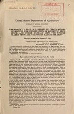 Amendment 1 to B.A.I. order 352. Regulations governing the importation of domestic livestock and other animals into the United States from all countries except Mexico