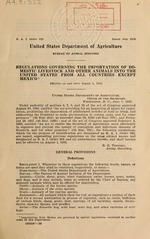 Regulations governing the importation of domestic livestock and other animals into the United States from all countries except Mexico
