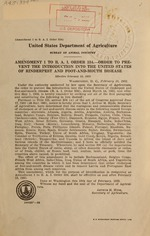 Amendment 1 to B.A.I. order 334.--order to prevent the introduction into the United States of rinderpest and foot-and-mouth disease