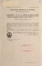 Amendment 4 to B.A.I. order 309 (Regulations governing the interstate movement of livestock), amending regulations 1 and 6