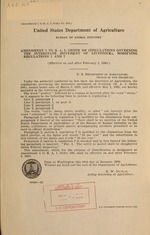 Amendment 1 to B.A.I. order 309 (Regulations governing the interstate movement of livestock), modifying regulations 1 and 7