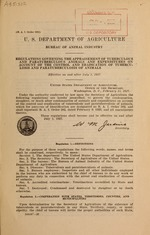 Regulations governing the appraisement of tuberculous and paratuberculous animals and expenditures on account of the control and eradication of tuberculosis and paratuberculosis of animals