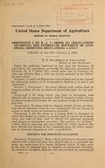 Amendment 1 to B.A.I. order 292 (Regulations governing the interstate movement of livestock), modifying regulations 4 and 7