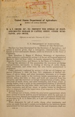 B.A.I. order 287--To prevent the spread of foot-and-mouth disease in cattle, sheep, other ruminants, and swine