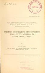 Farmers' cooperative demonstration work in its relation to rural improvement