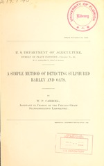A simple method of detecting sulphured barley and oats