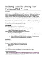 Workshop Overview: Creating Your Professional Web Presence