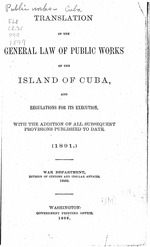 Translation of the General law of public works of the island of Cuba